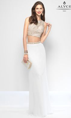 Alyce Paris 6657 is an A-line jersey two piece prom gown with a laced bateau top and an open back.
