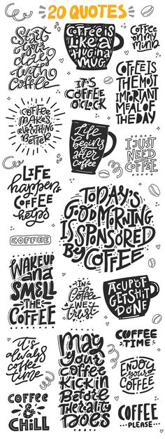 20 LETTERING QUOTES [To Boost Your Creativity Before Christmas] _ Can you live without coffee? I for sure can not :) Coffee Lovers is a big set of hand drawn lettering quotes and clipart that will help you decorate coffee mugs, bags, t-shirts and cards. Coffee Mug Quotes, Coffee Art, Coffee Humor, Coffee Cups, Big Coffee, Coffee Break, Morning Coffee Quotes, Iced Coffee, Coffee Mug Drawing