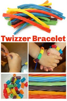 Make a Twizzler Candy Bracelet - Edible Craft for Kids of All Ages! Edible Crafts, Food Crafts, Edible Art, Summer Crafts For Kids, Projects For Kids, Garden Projects, Candy Crafts, Craft Stick Crafts, Carnival Crafts