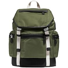 Pre-owned Coach F71884 Trek Pack: Msrp Backpack (19,945 INR) ❤ liked on Polyvore featuring bags, backpacks, olive green, green backpack, drawstring pouch, coach backpack, leather zipper pouch and leather rucksack