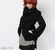 Black wool Jacket - Black bustle Jacket - Assymetrical couture Coat - Malam #etsy