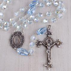 Ice Blue Swarovski Crystal Rosary, Sterling Silver | The Catholic Company