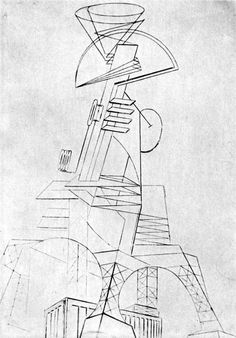 Naum Gabo, Project for a Radio Station, 1919-1920