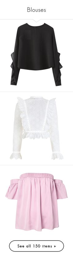 """""""Blouses"""" by bestgirlever ❤ liked on Polyvore featuring tops, blouses, sweaters, shirts, chicnova, ruffled shirts blouses, flounce shirt, shirt top, ruffle blouse and flounce blouse"""