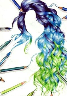 Awesome Hair Drawings For Fashion And Art Too Haarzeichnung 23 Amazing Drawings, Beautiful Drawings, Cool Drawings, Pencil Drawings, Drawings Of Hair, Amazing Artwork, Drawing Faces, Colorful Drawings, How To Draw Hair