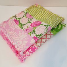 Set of 2 Baby Girl Burp Cloths. Rag Quilt Burp Cloths, Shabby Cottage Chic  Up Parasol - Heather Bailey  A perfect addition to any nursery, and