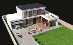 Architecture House Brick This is a Modern House rendered by Brick and Wood Planks. Best Modern House Design, Sims House Design, Contemporary House Plans, Small House Design, Home Building Design, Building A House, Modern Bungalow House, Architectural House Plans, Architectural Styles