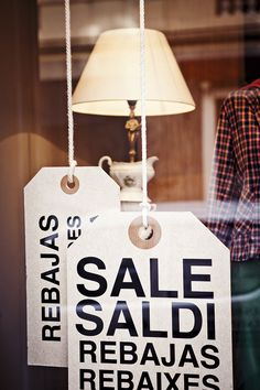 Oversized sale tags to place in the window to advertise, yup, you guessed it.... a sale!