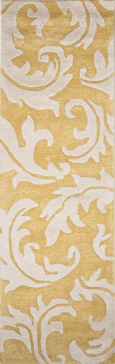 Jaipur Rugs Transitional Floral Pattern Yellow/Ivory Wool and Art Silk Area Rug BL08 (Runner)