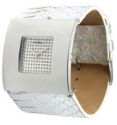 Moog Paris-Damier Damen-Armbanduhr Zifferblatt silber Armband silber in haut-Schlange, hergestellt in Frankreich-m44207sf-005 - http://uhr.haus/moog-paris/moog-paris-damier-damen-armbanduhr-zifferblatt-4