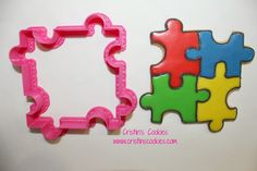 Puzzle Autism Cookie cutters IN STOCK here:www.cristinscookiecutters.com  Cristin's Cookies: Autism Awareness Cookies