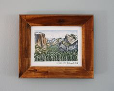 For all you nostalgic Californians!  Yosemite Print  -8x10 printed full color on mat cardstock  -frame is not included     #camping #yosemite #artprint #christmasgift #giftideas #etsyshop #etsy #erinvaughanillustration