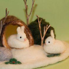 Enchanteddolls on Etsy.com Winter Snow Bunnies in a Log-needle felted scene   Castle of Costa Mesa