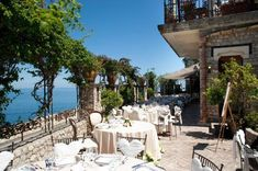 Tables set for an outdoor #reception at Villa Antonio, Sicily #wedding #destinationwedding
