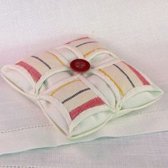 Upcycled Vintage Linen Sachet Pillow in Balsam Cedar by KerryCan, $20.00