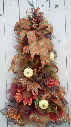 Fall wreath with mesh and pumpkins and sunflowers. Large mesh wreath. Tree wreath fall decoration.