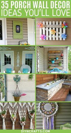 Porch Wall Decor, Summer Porch Decor, Spring Home Decor, Wall Art Decor, Home Porch, Diy Porch, Diy Patio, Porch Ideas, Porch Decorating