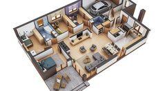 Projekt domu Murator M132 Wariantowy 128,20 m² - koszt budowy - EXTRADOM Single Floor House Design, Best Modern House Design, Sims House Design, Village House Design, Small House Design, Home Room Design, House Floor, House Plans Mansion, Sims House Plans