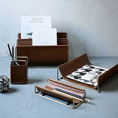Faux Leather + Brass Office Accessories #westelm