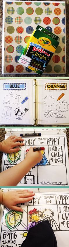 do it yourself :: kids dry erase coloring book & educational workbook. all you need is a binder, sheet protectors, and dry erase crayons! save from having to buy multiple coloring books, workbooks, and printer ink for printables - you'll use this book over and over again! kids LOVE it!!