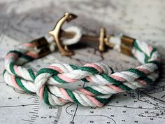 "This beautiful ""Triton Knot"" sailing bracelet is carefully hand-knotted in Rhode Island from locally twisted nautical cord in various weathered New England colors.  The cord is tied in the square knot, considered the most useful knot utilized in boating. Used for tying light lines, awning stops, reef points, cord on packages, and in fact is put to such numerous uses by sailors that many landsmen call it the ""Sailor's Knot."""