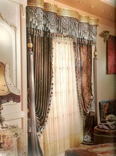 Window Treatment Ideas - Trying to find window treatment suggestions? Have a look at this concept gallery of shutters, blinds, tones, and more. All the home window covering ideas in one place. Elegant Curtains, Beautiful Curtains, Colorful Curtains, Drapes Curtains, Valances, Window Coverings, Window Treatments, Bed Crown Canopy, Curtain Designs