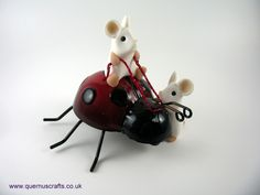 Two Little Mice on Ladybird Mice, Christmas Ornaments, Holiday Decor, Gallery, Crafts, Manualidades, Computer Mouse, Roof Rack, Christmas Jewelry