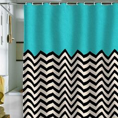 Cool shower curtain - black and white chevron stripes with a turquoise blue top #curtains