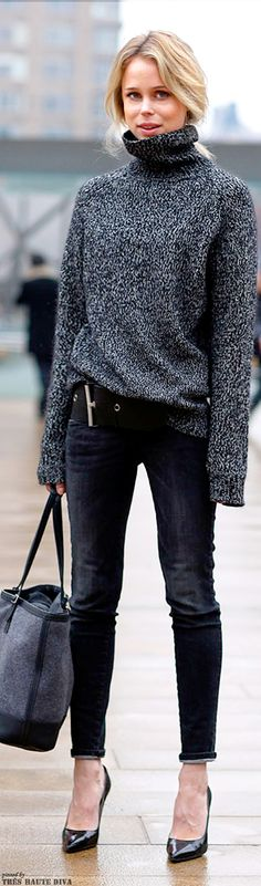 Elin King - Turtleneck Sweater, Black Jeans, Grey Celine Tote