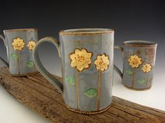 Tall Sunflower Mug - Country Blue - Coffee Mug - Rustic Pottery - by DirtKicker Pottery on Etsy, $32.00
