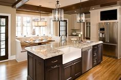 Banquette and kitchen island with farmer's sink