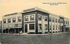 Conrad Montana Mt 1914 Hotel Ryan Mercantile Company Vintage Postcard