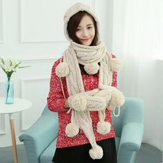 Cable women hat scarf and gloves set for winter hairball decoration