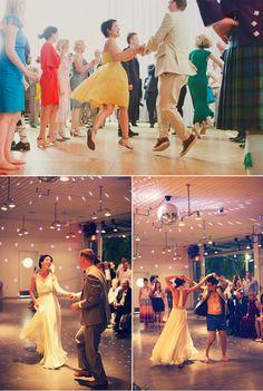 happy wedding dancers