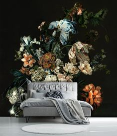 Floral bouquet with blue irises removable wallpaper, dutch floral painting, dark floral wallpaper, temporary peel and stick wall mural# Watercolor Wallpaper, Dark Wallpaper, Print Wallpaper, Wallpaper Designs, Adhesive Wallpaper, Floral Bedroom, Temporary Wallpaper, Floral Wall, Floral Bouquets