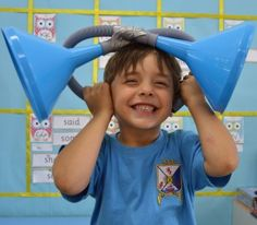 Use these mirror ears to trick your brain. Great sound experiment. See the full lesson idea on my blog.
