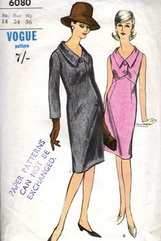 Vintage 1960s Vogue Sewing Pattern 6080 - Misses' Dress size 14 bust 34 di SewAddicted2SewMuch su Etsy https://www.etsy.com/it/listing/216361392/vintage-1960s-vogue-sewing-pattern-6080