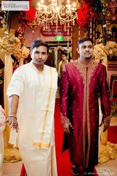 Red Groom Sherwani Kurta South Asian Hindu Tamil Wedding Ceremony - more inspiration @ http://www.ModernRani.com