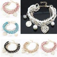 Wish | Fashion Womens Girls Jewelry Gold Metal Heart Pearl Multilayer Bracelet Chain