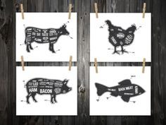 4 Butcher Diagram Prints, Cow, Pig, Fish, Chicken, Kitchen Print, Butcher Chart, Kitchen Art, Butcher Diagram, Butcher Prints, Cuts of Meat on Etsy, £24.07