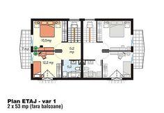 proiecte-de-case-duplex-duplex-house-plans-11 Design Case, Floor Plans, Houses, Floor Plan Drawing, House Floor Plans