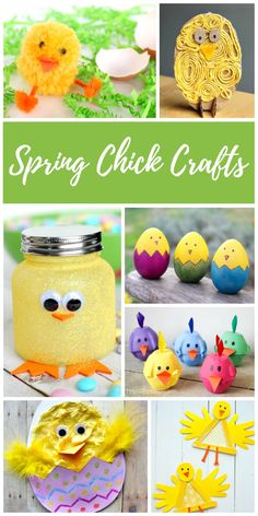 Super cute spring Easter Chick Crafts for children and adults of all ages. DIY spring chick crafts make fun Easter decorations that toddlers, preschoolers, kindergarteners and school aged kids can make! #eastercrafts #craftsforkids #kidscrafts #spring #easter #easter #chicks #craft #crafts #kids
