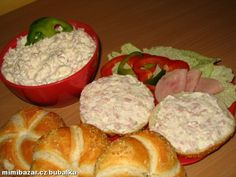 Czech Recipes, Egg Salad, Coleslaw, Ham, Muffin, Food And Drink, Cooking Recipes, Cheese, Snacks