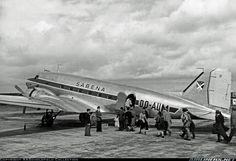 Smartly clad passengers make their way to Sabena's postwar-built DC-3D - distinguished by the small passenger door of this late variant. OO-AUM wears the early postwar scheme of large registration and no white top. Fur coats and felt hats are in evidence. Obtained from Sabena over 60 years ago. - Photo taken at Brussels - National (Zaventem) / Melsbroek (BRU / EBBR / EBMB) in Belgium in 1946.