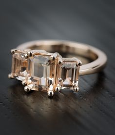 This Custom Morganite Gemstone Engagement Ring in Rose Gold is absolutely stunning.  See more images of our recently purchased rings!