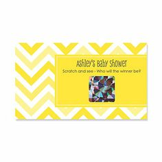 Chevron Yellow - Personalized Baby Shower Scratch Off Cards - 22 ct   BigDotOfHappiness.com