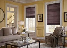 Roman shades add depth to your room design while acting as an insulative layer during cold nights. #BudgetBlinds