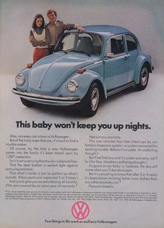 "1973 VW Bug Car Ad Volkswagen Beetle ""Baby"" Vintage Auto Advertisement Wall Art Decor"