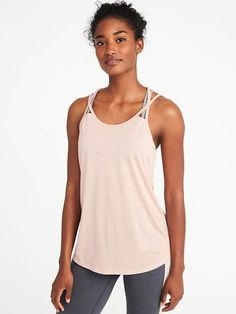 c1eacc22fe Old Navy Semi-Fitted Strappy Mesh-Back Performance Tank for Women V Neck  Dress