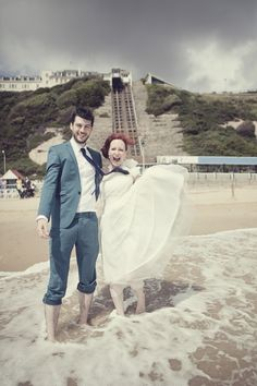 Couple shots on the beach. [Wedding] A Blustery Intimate Bournemouth Beach Wedding » Brighton wedding photographer – Emma Lucy Photography. Alternative, green & quirky wedding photography